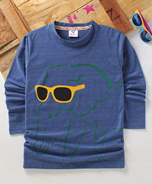 Tonyboy Fluo Elephant Printed Full Sleeve T-Shirt - Blue