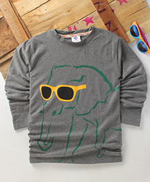 Tonyboy Fluo Elephant Printed Full Sleeve T-Shirt - Grey