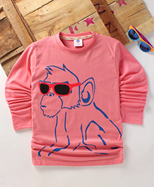 Tonyboy Fluo Monkey Printed Full Sleeve T-Shirt - Peach