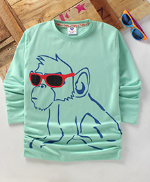 Tonyboy Fluo Monkey Printed Full Sleeve T-Shirt - Sea Green