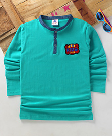 Tonyboy Boys Denim Collared Full Sleeve T-Shirt - Arctic Green