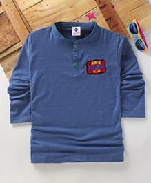 Tonyboy Boys Denim Collared Full Sleeve T-Shirt - Blue