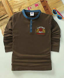 Tonyboy Boys Denim Collared Full Sleeve T-Shirt - Brown