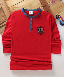 Tonyboy Boys Denim Collared Full Sleeve T-Shirt - Red