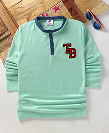Tonyboy Boys Denim Collared Full Sleeve T-Shirt - Sea Green