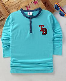 Tonyboy Boys Denim Collared Full Sleeve T-Shirt - Sky Blue