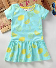 Eimoie Girls Casual Printed Dress - Sea Green