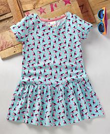 Eimoie Girls Casual Printed Dress - Sky Blue