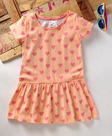 Eimoie Girls Casual Printed Dress - Peach