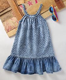 Eimoie Girls Casual Printed Denim Dress - Blue