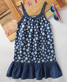 Eimoie Girls Casual Printed Denim Dress -Indigo