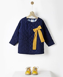 Pluie Quilted Reversible Jacket With Bow - Navy Blue