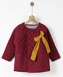 Pluie Quilted Reversible Jacket With Bow - Maroon