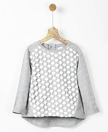 Pluie Lace Melange Overlay Top - Grey