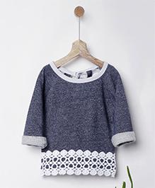 Pluie Galaxy Sweatshirt With Lace Hem - Grey
