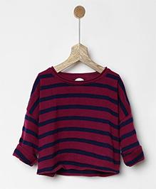 Pluie Striped Sweatshirt - Maroon & Blue