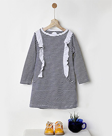 Pluie Striped Jersey Dress With Pockets - Navy Blue
