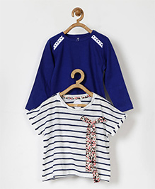 Pluie Striped & Plain Set Of Two Tees - Blue & White