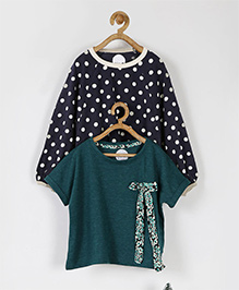 Pluie Dot Print & Bow Applique Set Of Two Tees - Teal Green & Navy Blue