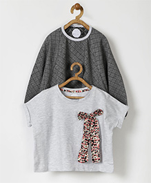 Pluie Bow Applique Set Of Two Tees - Grey