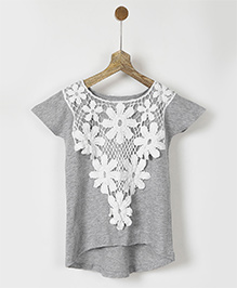 Pluie Top With Overlay Lace - Grey