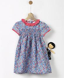 Pluie Floral Print Vintage Smock Dress - Blue