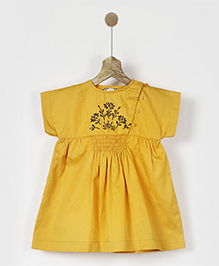 Pluie Embroidered Smocked Dress - Yellow