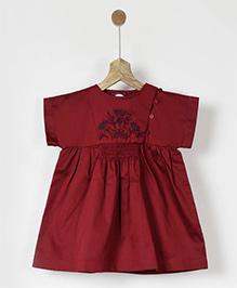 Pluie Embroidered Smocked Dress - Maroon