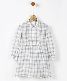 Pluie Checks Shirt Dress With Pockets - Off White