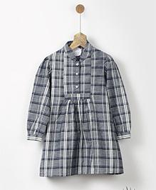 Pluie Chambray Checks Shirt Dress With Pockets - Grey