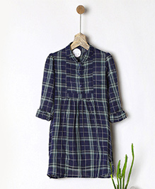 Pluie Checkered Shirt Dress With Pockets - Navy Blue