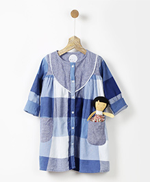 Pluie Checkered Tunic With Lace Yoke - Blue
