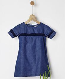 Pluie Polka Dot Print Shirt Dress With Ruffles - Navy Blue