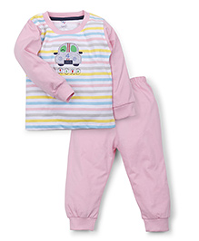 Paaple Full Sleeves Suit Set With Road Print - White & Pink