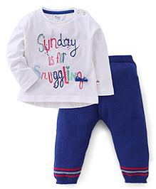 Simply Full Sleeves Printed Top And Leggings Set - White Blue