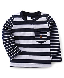 Simply Full Sleeves Striped Tee With Front Pocket - Navy & White