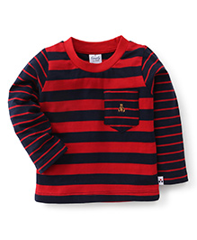 Simply Full Sleeves Striped Tee With Front Pocket - Navy & Red