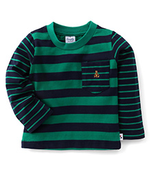 Simply Full Sleeves Striped Tee With Front Pocket - Navy & Green