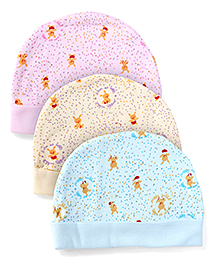 Simply Printed Caps Set Of 3 - Pink Yellow Sky Blue
