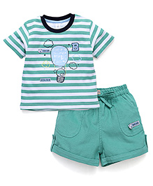 ToffyHouse Half Sleeves Printed T-Shirt And Shorts - Green White
