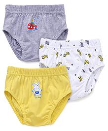 Babyhug Briefs With Print Set Of 3 - Grey Yellow White