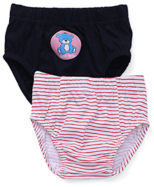 Babyhug Printed Briefs Set Of 2 - Navy Blue And White With Red Stripes