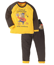 Doreme Full Sleeves T-Shirt With Bottom - Yellow Grey