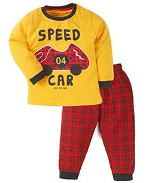 Doreme Full Sleeves T-Shirt With Bottom Car Print - Golden Red