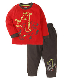 Doreme Full Sleeves T-Shirt With Bottom - Red Brown