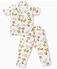 Doreme Half Sleeves Night Suit Giraffe Print - White Golden Yellow