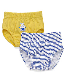 Babyhug Printed Briefs Pack Of 2 - Stripes On White Base & Yellow