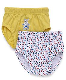 Babyhug Printed Briefs Pack Of 2 - White & Yellow