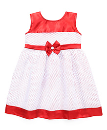 Babyhug Sleeveless Frock Dotted Print And Bow Applique - Red White