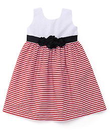 Babyhug Sleeveless Frock Striped Pattern - White & Red